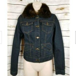 Ralph Lauren Black Label Denim Jacket Fur Collar